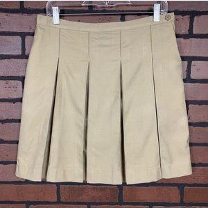 Lands' End Tan Pleated Uniform Work Play Skirt EUC